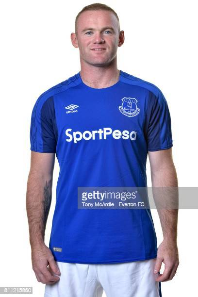 New Everton signing Wayne Rooney poses for a photo at USM Finch Farm on July 8 2017 in Halewood England
