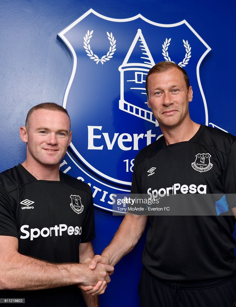 New Everton signing Wayne Rooney poses for a photo with Duncan Ferguson (R) at USM Finch Farm on July 8, 2017 in Halewood, England.