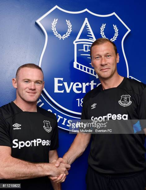 New Everton signing Wayne Rooney poses for a photo with Duncan Ferguson at USM Finch Farm on July 8 2017 in Halewood England