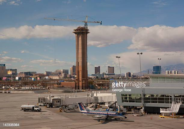 A new FAA traffic control tower at McCarran International Airport is under construction on March 18 in Las Vegas Nevada Hit hard by a fouryear...