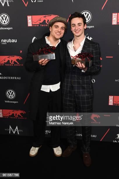 New Faces Award Winners Jonas Dassler and Isaiah Michalski pose at the New Faces Award Film at Spindler Klatt on April 26 2018 in Berlin Germany