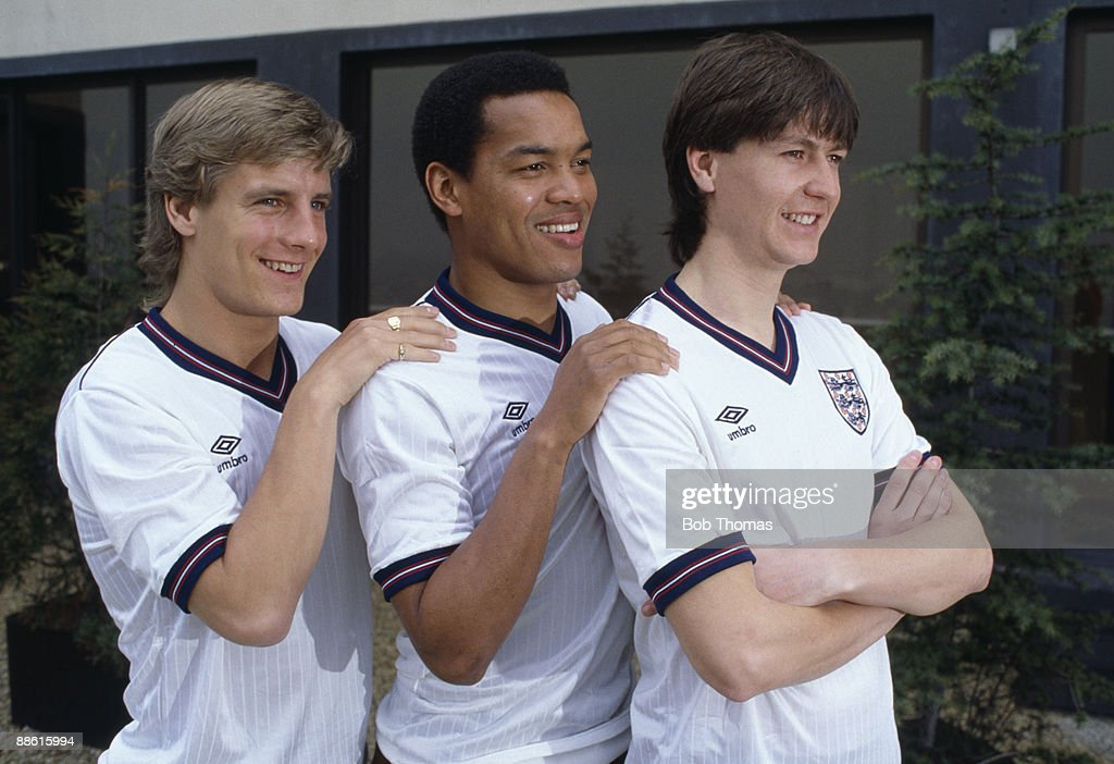 New faces in the England team to play France at the Parc des Princes Stadium in Paris, left-right, Paul Walsh, Brian Stein and Steve Williams, 28th February 1984.
