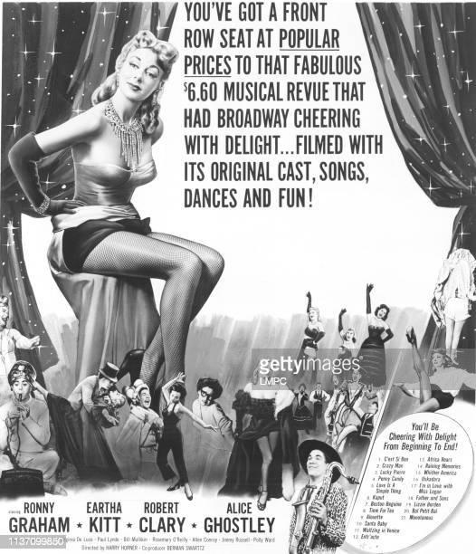 New Faces, poster, Robert Clary, Virginia deLuce, Eartha Kitt, Alice Ghostley, Ronny Graham, 1954.