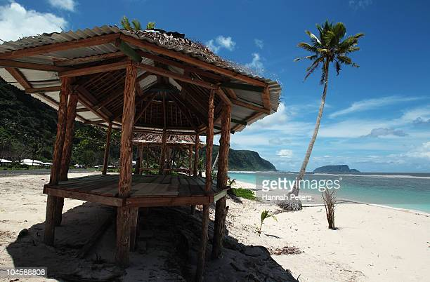 New fales line a clean beach on September 30, 2010 in Saleapaga, Samoa. 189 people were killed and hundreds more injured in Samoa, American Samoa,...