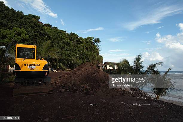 New fales under construction at the Seabreeze Resort in Matatufu on September 29, 2010 in Apia, Samoa. 189 people were killed and hundreds more...