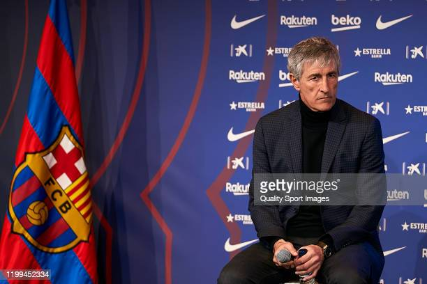 New FC Barcelona head coach Quique Setien during the press conference during his unveiling at Camp Nou on January 14 2020 in Barcelona Spain