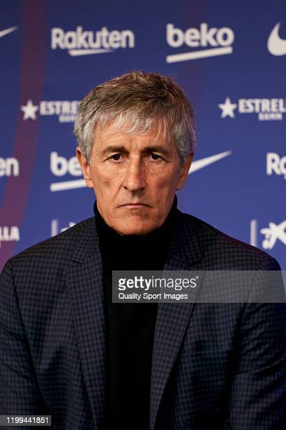 New FC Barcelona head coach Quique Setien during the press media during his unveiling at Camp Nou on January 14 2020 in Barcelona Spain