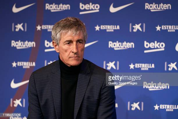 New FC Barcelona head coach Quique Setien looks on during the press conference during his unveiling at Camp Nou on January 14 2020 in Barcelona Spain