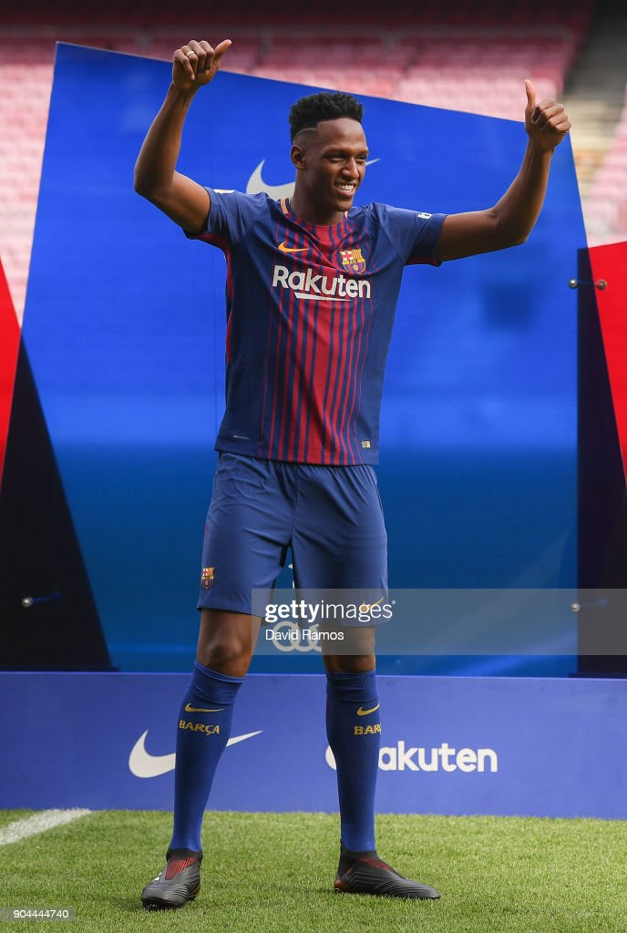 New FC Barcelona player Yerry Mina is unveiling at Nou Camp on January 13, 2018 in Barcelona, Spain. The Colombian player signed from Palmerias, has agreed a deal with the Catalan club until 2022 season.