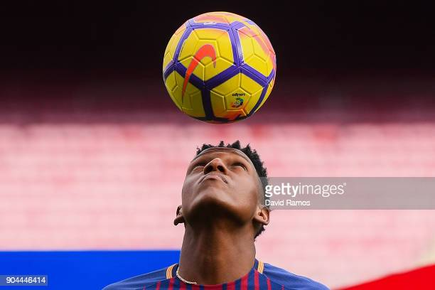 New FC Barcelona player Yerry Mina is unveiling at Nou Camp on January 13 2018 in Barcelona Spain The Colombian player signed from Palmerias has...