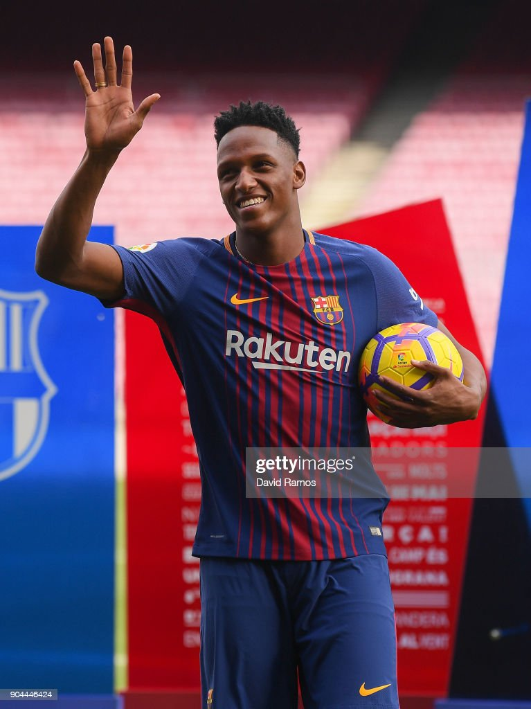 New Fc Barcelona Player Yerry Mina Is Unveiling At Nou Camp On News Photo Getty Images