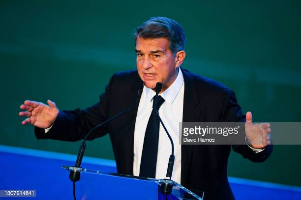 New FC Barcelona President Joan Laporta delivers his speech during the official inauguration at Camp Nou on March 17, 2021 in Barcelona, Spain.