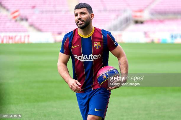 New FC Barcelona signing Sergio Aguero posing for a photograph as he is unveiled at Camp Nou on May 31, 2021 in Barcelona, Spain.