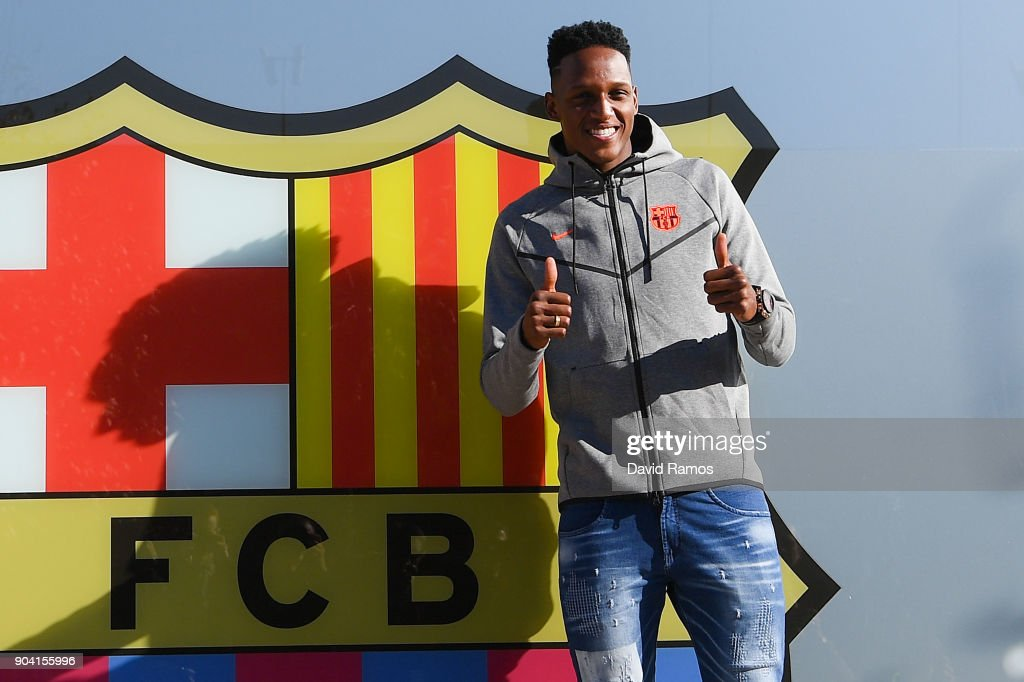 New FC Barcelona signing Yerry Mina poses for the media outside the FC Barcelona headquarters at Nou Camp on January 12, 2018 in Barcelona, Spain. The Colombian player signed from Palmerias, will be officialy unveiled tomorrow after having agreed a deal with the Catalan club until 2022 season.