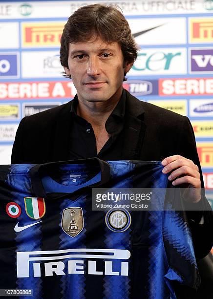 New FC Internazionale Coach Leonardo attends a press conference during the unveiling of Fc Internazionale Milano new coach at Centro Sportivo Angelo...