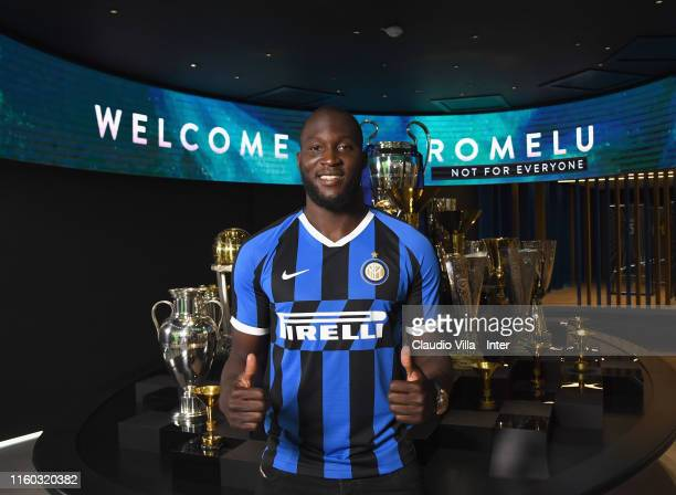 New FC Internazionale signing Romelu Lukaku poses for a photo during on August 8 2019 in Milan Italy
