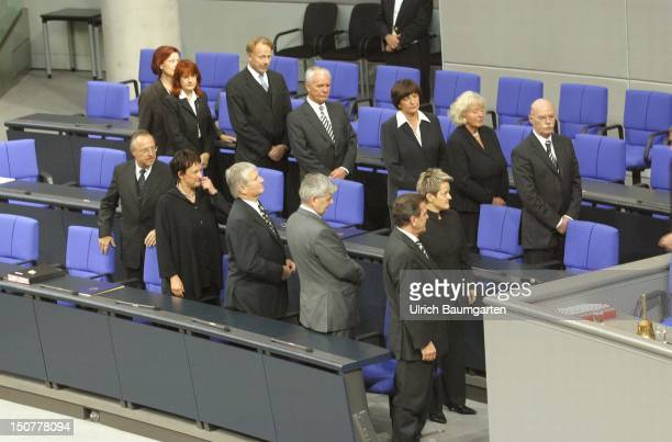 New federal cabinet in the government bench in the plenary of the federal German parliament during the swearing in of Wolfgang Clement From the right...