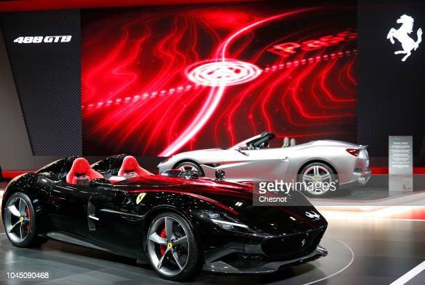 A new Ferrari Monza SP2 automobile is on display during the second press day of the Paris Motor Show at the Parc des Expositions at the Porte de...