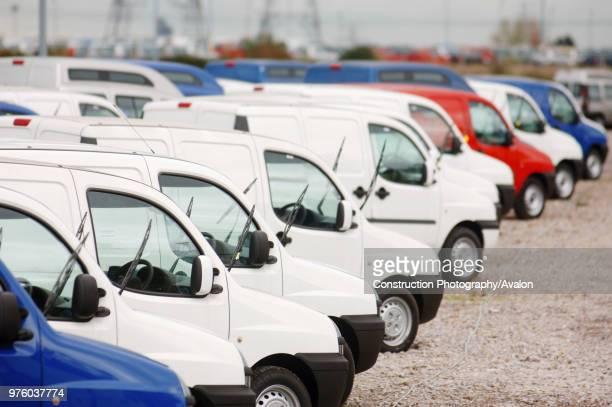 New fiat doblo cargo vans parked at Avonmouth docks near Bristol, UK.