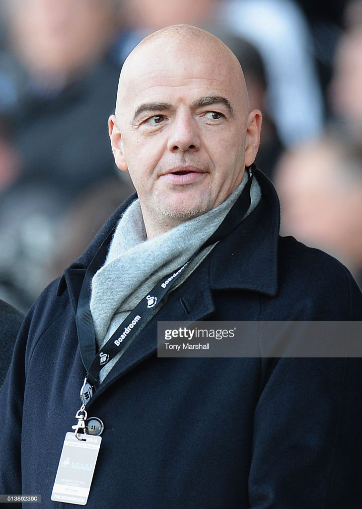 New FIFA President Gianni Infantino is seen prior to the Barclays Premier League match between Swansea City and Norwich City at Liberty Stadium on March 5, 2016 in Swansea, Wales.