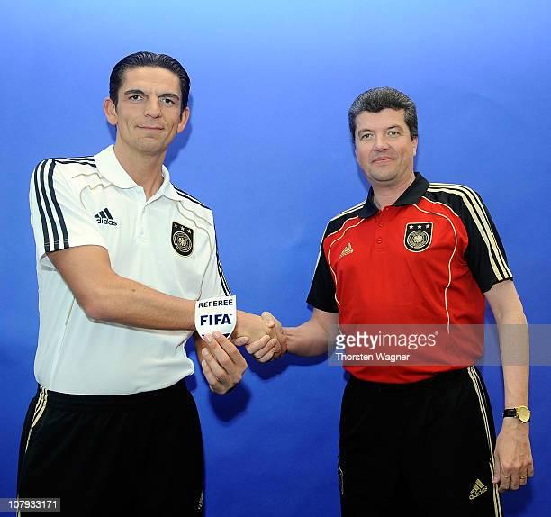 New Fifa Referee Deniz Aytekin becomes his honor from Herbert Fandel head of German referees during the referee meeting of German Football...