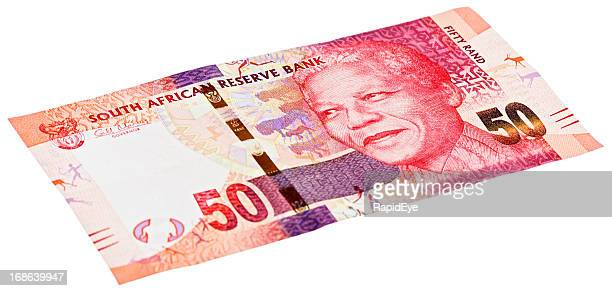 new fifty rand south african banknote featuring nelson mandela - south african currency stock photos and pictures