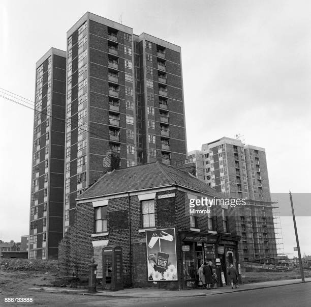 New flats and old buildings side by side in Newcastle upon Tyne Tyne and Wear 30th April 1964