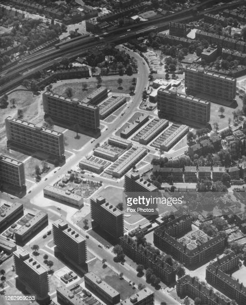 New flats at Loughborough Junction near Brixton in South London, 1957. Barrington Road curves round the top left.