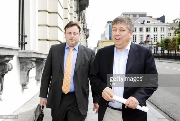 New Flemish Alliance chairman Bart De Wever and Christian Democrat and Flemish chairman Jo Vandeurzen arrive at the parliament for a party fraction...