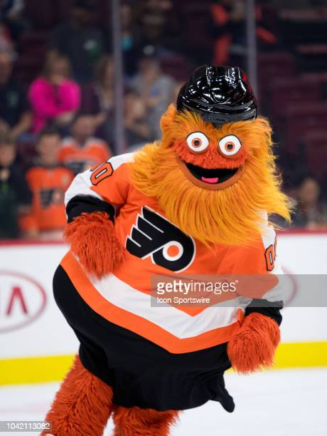 New Flyers mascot Gritty entertains fans during the Preseason game between the New York Rangers and Philadelphia Flyers on September 27 2018 at Wells...