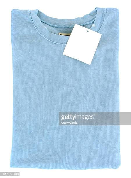 new folded t-shirt with blank tag - blouse stock pictures, royalty-free photos & images