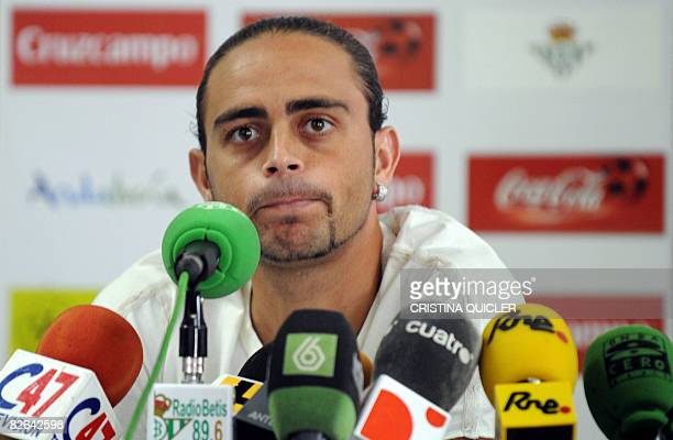 New football forward Sergio Garcia gives a press conference on September 3 2008 during his presentation as a recruit of the Spanish first division...
