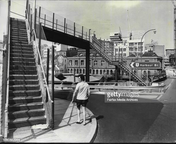 New footbridge crossing over new section of road leading down to Day St from Pyrmont bridgePedestrians not using footbridge December 28 1972