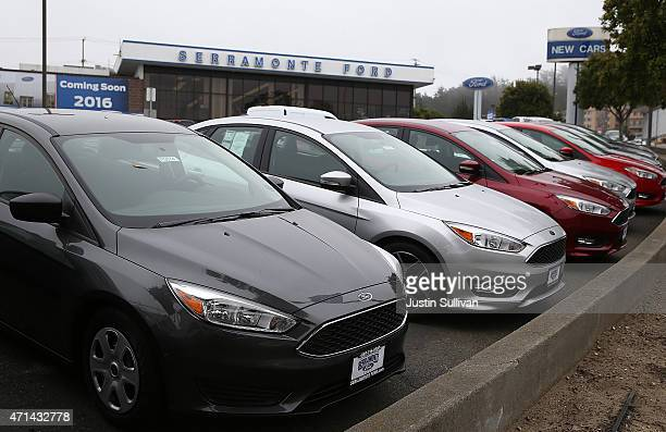 New Ford cars on displayed on the sales lot at Serramonte Ford on April 28 2015 in Colma California Ford Motor Co reported a 66 percent drop in first...