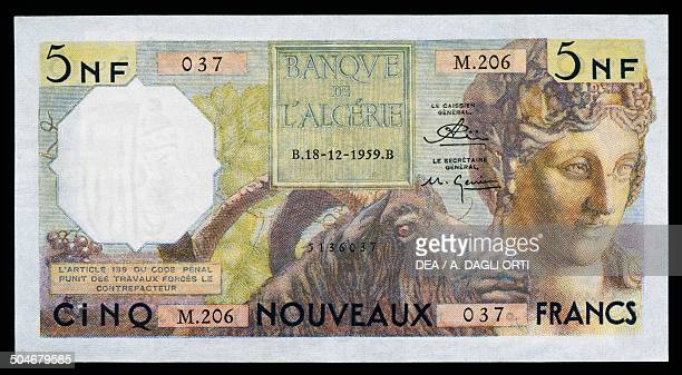 5 new franc banknote obverse depicting a woman's face and ram Algeria 20th century