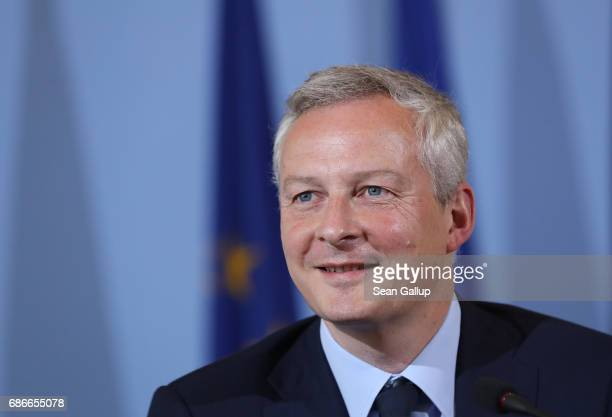 New French Finance Minister Bruno Le Maire speaks to the media following talks with German Finance Minister Wolfgang Schaeuble on May 22 2017 in...