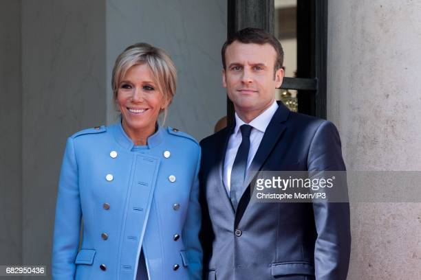 New French President elect Emmanuel Macron and his wife the First Lady Brigitte Trogneux attend a formal ceremony as part of the transfer of power...