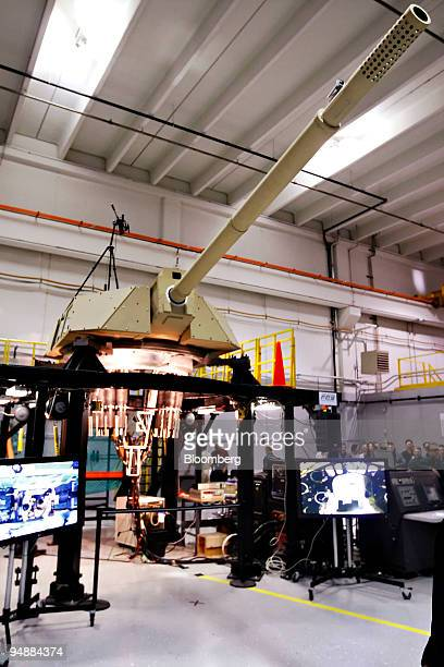 New Future Combat Systems cannon being developed for the U.S. Army is displayed at the General Dynamics Land Systems Shelby Operations manufacturing...