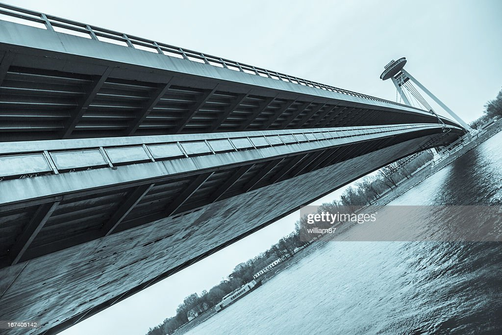 New Futuristic Bridge in Bratislava : Stock Photo