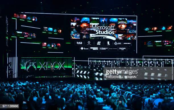 New games and partnerships are introduced to the audience at the Xbox 2018 E3 briefing in Los Angeles California on June 10 ahead of the 24th...