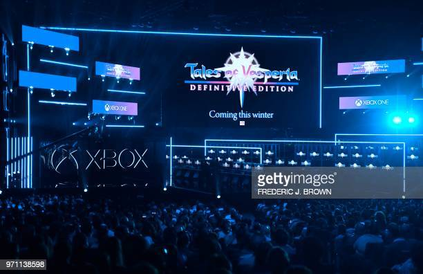 New games are introduced to the audience at the Xbox 2018 E3 briefing in Los Angeles California on June 10 ahead of the 24th Electronic Entertainment...