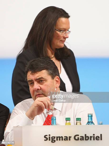 New General Secretary designate Andrea Nahles and new Chairman designate Sigmar Gabriel of the German Social Democratic Party attend the SPD party...
