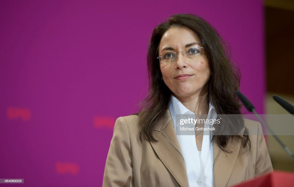 New General Secretary of the German Social Democrats (SPD) Yasmin Fahimi attends a press conference after and SPD party board meeting on January 20, 2014 in Berlin, Germany.