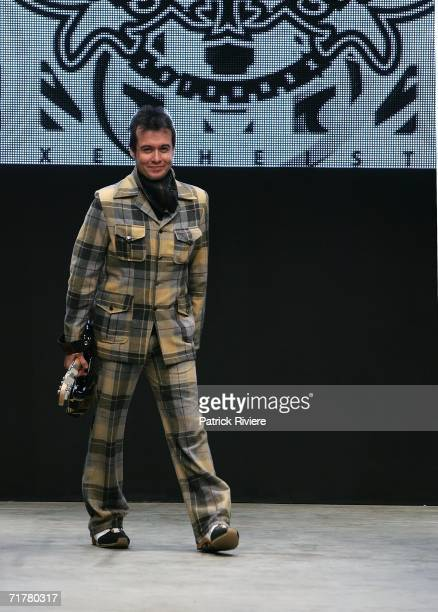 New Generation designer Bernard Taylor of Xenheist waves to the audience following his collection show during Rosemount Australian Fashion Week...
