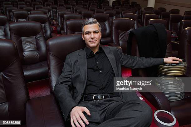 A new George Clooney wax figure by Madame Tussauds is presented at Astor Film Lounge on February 7 2016 in Berlin Germany