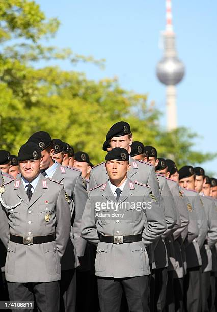 New German Bundeswehr soldiers arrive for a swearingin ceremony for new recruits of the Bundeswehr the armed forces of the Federal Republic of...