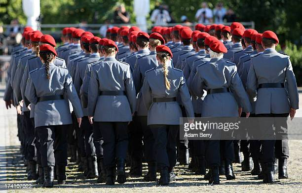 New German Bundeswehr soldiers leave a swearingin ceremony for new recruits of the Bundeswehr the armed forces of the Federal Republic of Germany in...