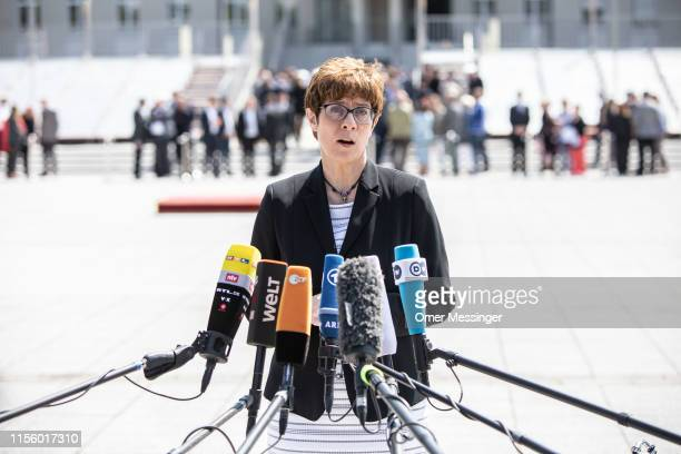 New German Defense Minister Annegret KrampKarrenbauer delivers a statment to the press after a ceremony with military honors at the Defense Ministry...