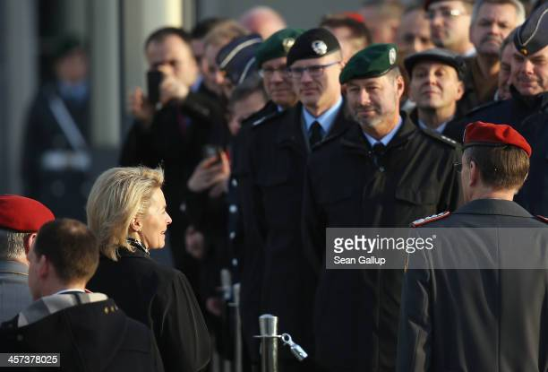 New German Defense Minister Ursula von der Leyen speaks to soldiers of the Bundeswehr shortly after she took office at the Defense Ministry on the...
