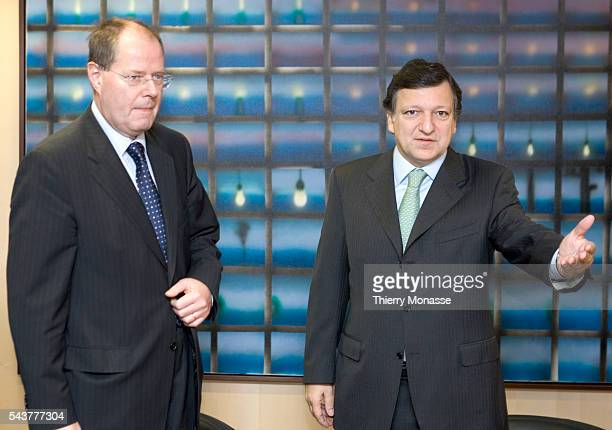 New German Finance Minister Peer Steinbrueck is welcomed by EU Commission President Jose Manuel Barroso prior to the Ecofin council meeting in...